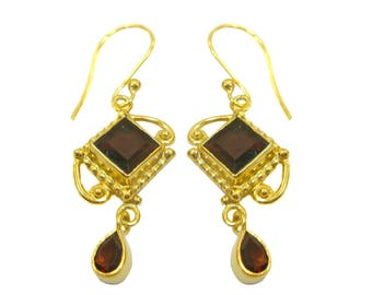 Royal Garnet 925 Sterling Silver Gold Plated Hand Crafted Pretty Dangle Earrings For GIFT