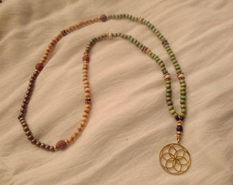 """SALE! Collar type """"mala"""" flower of life Golden beads mala necklace gold flower of life wood beads with metal and wood"""