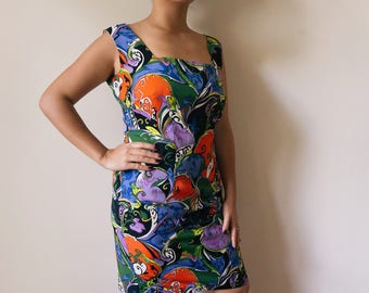 Colorful 90s fitted retro funky print dress