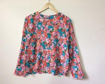 Vintage long sleeve floral print blouse