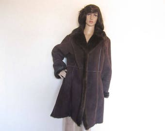 Vintage fake fur jacket coat velour jacket-over-size L