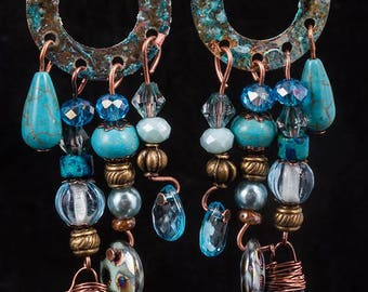 Rustic  brass washer and blue bead earrings with patina