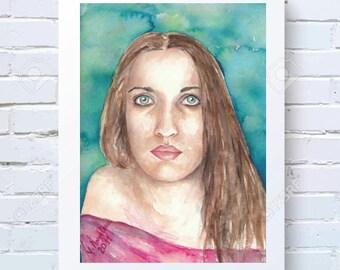 Watercolor Print Wall Art Portrait Digital Download Art Watercolor Woman Print Portrait Instant download Art Living Room Decor Printable