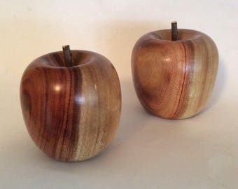 Turned wooden apples, handmade from salvaged camphor laurel timber
