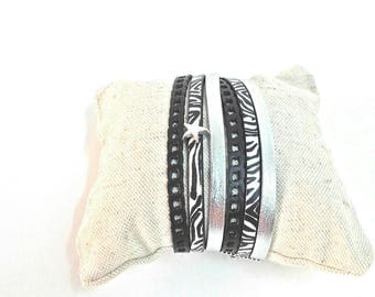 VIVIAN Cuff Bracelet double turn black and silver