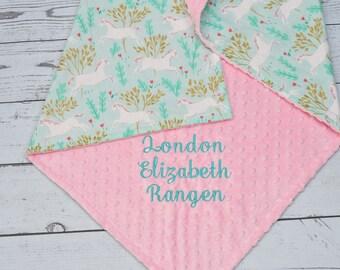 Unicorn Baby Blanket-Personalized unicorn baby Girl Blanket-Metallic Unicorn Forest minky baby Blanket-Aqua Unicorn blanket-horse blanket
