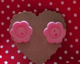 Pink flower button earrings