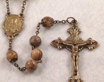 Sacred Heart Rosary in Bronze and Picture Jasper