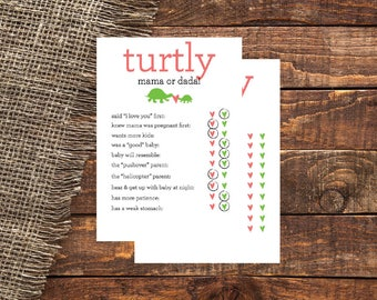 TURTLY Mama or Dada | Turtle Baby Shower Mama or Dada Game Card | Turtle Baby Shower Mama or Dada Game Card | Baby Shower Mama or Dada Game