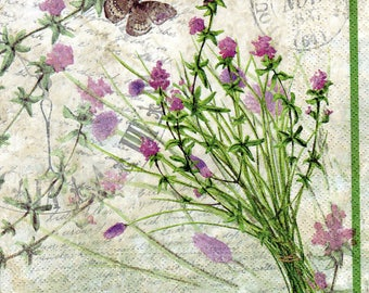 Decoupage Paper Napkins Bouquet Garni Herbs (1x Napkin) - ideal for Decoupage, Collage, Mixed Media, Crafts