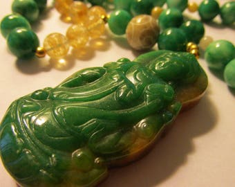"""Apple Green Chinese Jade Pendant of Kwan Yin with Jade and Gemstone Bead Necklace, 20"""""""