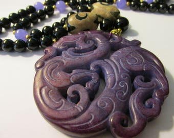Plum Purple Jade Pendant of Mythical Dragon with Dzi-Agate Bead Necklace, 24""