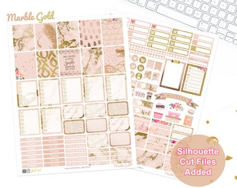 Marble Planner Stickers, Printable, weekly kit, Gold stickers, glam rose, use with Erin Condren, ECLP, glitter, pink, blush, Silhouette cut