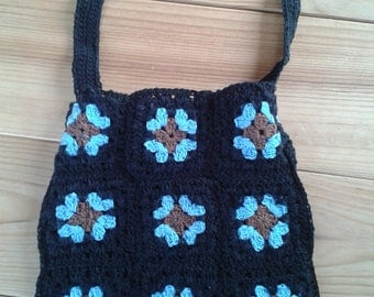 Lovely crochet purse black all cotton handmade blue flowers