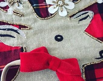 Chubby Velvet Bow headband or hair clip / Christmas Bow / Girls hairbow