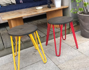 HINN - Mini Prime Reclaimed Wooden stools with Hairpin legs - Made to Order - Other Colours available