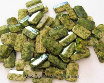 40 Rectangle 18 x 11mm Green marbled acrylic beads