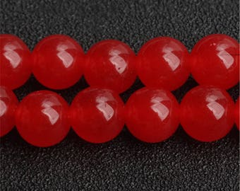 Hot Red Chalcedony beads - 15'' Full Strand Gemstone Chalcedony beads - Genuine Natural Stone bead - 4mm 6mm 8mm 10mm 12mm 14mm - B212