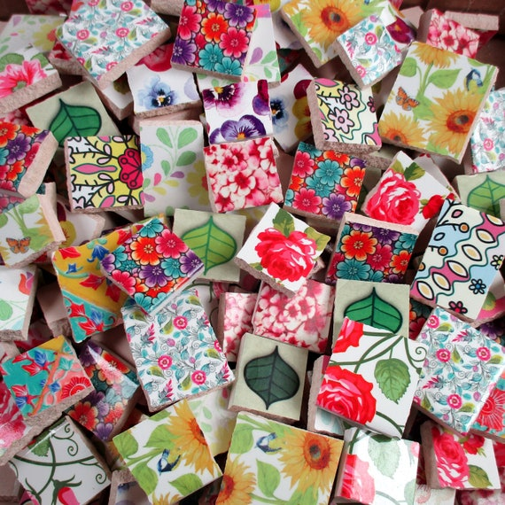 Ceramic mosaic tiles 2 pounds mixed flowers leaves for Craft mosaic tiles bulk