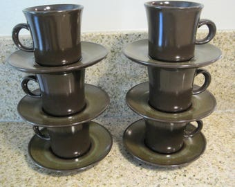 Vintage Franciscan Earthenware MADEIRA ~12 Pc Coffee Cups and Saucers