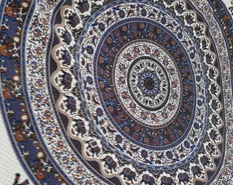 Mandala with elephants tapestry  boho fabric. Colors include navy, brown, etc.