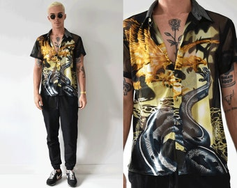 90s Cyber Mesh Snake And Eagle Printed Button Up Shirt