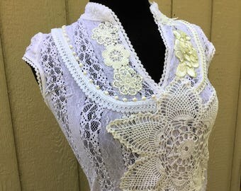 White Lace Womens Upcycled Tshirt, Romantic Shabby Chic Stretch Tee, Size Small, Wearable Art, Gift for Her