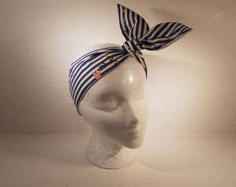 Wired Headband / hairband / hair accessory. Blue and white stripes
