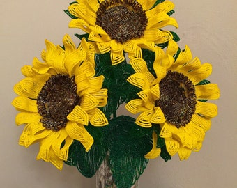 French Beaded Sunflower