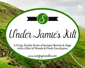 NEW LOOK! Under Jamie's Kilt, Outlander Inspired Soy Candle