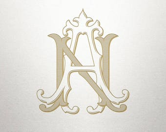 Vintage Wedding Monogram - AN NA - Wedding Monogram - Digital