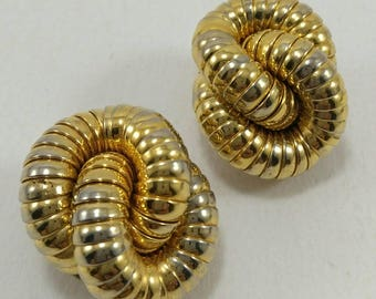 Vintage gold tone knot clip on earrings