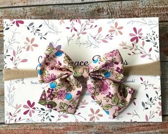 Floral Bow Headband/Floral Headband/Floral Baby Headband/Floral/Bow Headband/Nylon Headband/Baby Hair Bow/Baby Bow/Bow Headband/Baby Girl