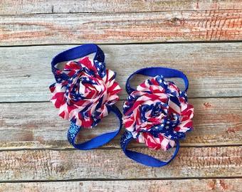 4th of July Barefoot Sandal, Baby Barefoot Sandal, Barefoot Sandal, Baby Shoe, Baby Sandals/Newborn Sandal, Patriotic Sandal, Baby Girl Shoe