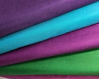 Bundle of 5 Peppered Cotton Fabrics from Studio E Fabrics, Fucshia, Magenta, Lagoon, Plum, Emerald Shot Cotton