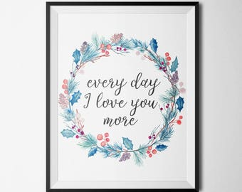 Every Day I Love You More Motivational Poster Wall Art Decor Instant download Inspirational Quote Motivational print