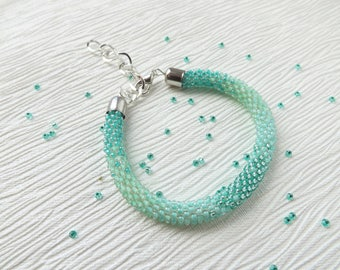 mint bracelet turquoise bracelet beaded bracelet green bracelet statement bracelet mint jewelry dainty bracelet seed bead bracelet ocean