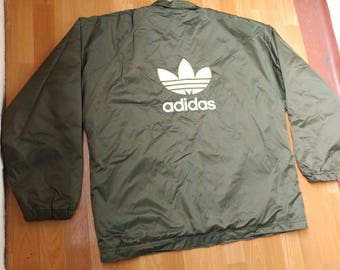 ADIDAS jacket, green vintage full zip hip hop windbreaker of 90s hip-hop clothing, old school 1990s gangsta rap, size XL D9