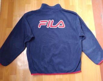 FILA sweatshirt, vintage blue fleece shirt, 90s hip-hop clothing, old school 1990s hip hop shirt, OG, gangsta rap, sewn, size L Large