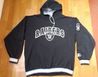 STARTER Oakland Raiders hoodie, vintage Los Angeles Raiders jacket, vintage football NFL, 90s hip-hop clothing 1990s hip hop og size L Large