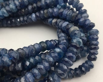 "Natural Kyanite Faceted Rondelle Gemstone Loose Beads Size 4x6/5x7/5x8mm Approx 15.5"" Long per Strand"