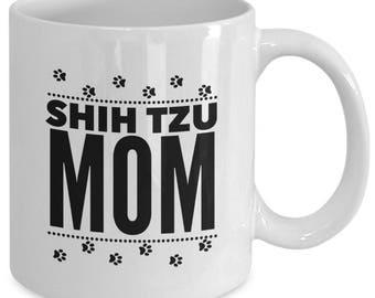 SHIH TZU MOM - Cute Pawprint Mug for Proud Shihtzu Mommies - Puppy Dog Lover Gift - 11 oz white coffee tea cup