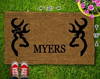 Buck And Doe Coir Doormat - 18x30 - Welcome Mat - House Warming - Mud Room - Gift - Custom