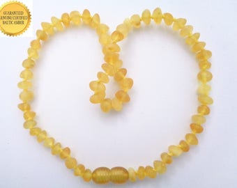 RAW Baltic Amber Teething Necklace For BABY GIRL, Real Amber Beads, Organic Rounded Beads, Natural Anti Inflammatory, Reduce Teething Pain