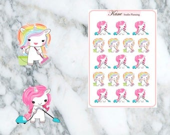 Cleaning Unicorn Planner Stickers