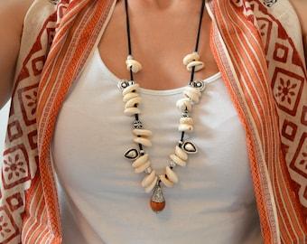 Cowrie Shell Necklace with Buddha/Tibetan pendant, Boho Bohemian Ethnic Tibetan Nepali Gypsy Tribal Ethnic Necklace, Ibiza Summer necklace