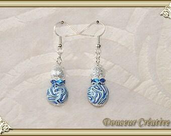 Blue white silver black pearl earrings 104071 pattern
