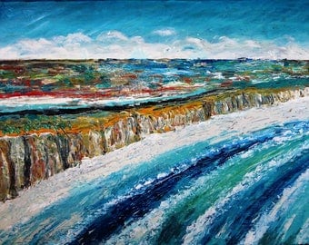 Original Abstract, modern art painting  Great Ocean Road Australia acrylic on canvas  60 x 80cm abstract cliff beach wave