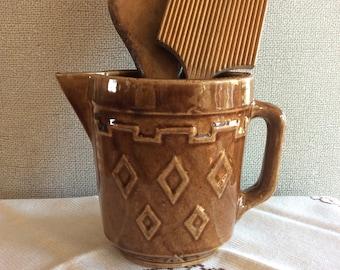 Western Monmouth pottery stoneware batter pitcher creamer Diamond pattern ironstone