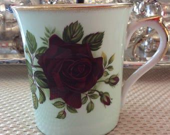 Vintage Rosina fine bone china mug English Rose pattern